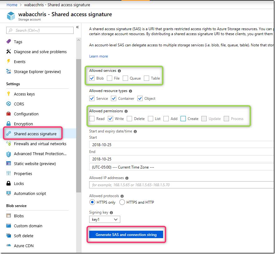 Azure Storage Blob upload from browser – Microsoft Azure App